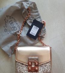 LIU.JO rose gold glitter torbica
