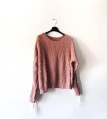 Rozi pleteni pulover dugih rukava