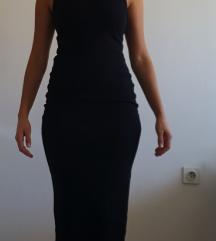 Crna duga pamučna haljina