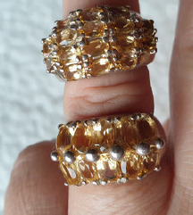 2 prstena pravo srebro 17mm citrin