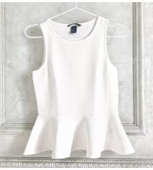 H&M peplum bijela bluza
