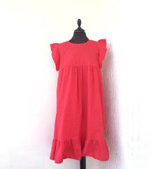 Crvena haljina s volanima bez rukava