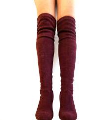čizme iznad koljena boja vina