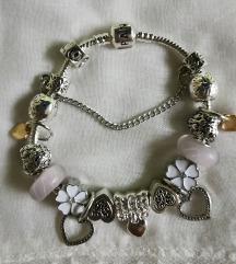 Pandora narukvica, bijeli cvijet, novs