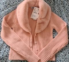 ZARA rozi pulover s krznom uključena pt