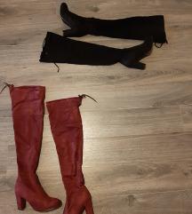 Čizme iznad koljena, crne i bordo