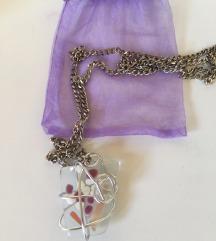 Unikatna ručno rađena ogrlica/lančić od stakla