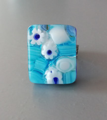Murano plavi flower prsten
