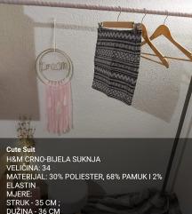 H&M CRNO-BIJELA SUKNJA