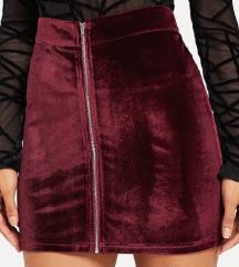 Nova velvet bordo suknja