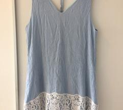 Plava haljina s cipkom