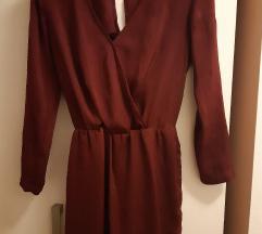 Bershka bordo haljina dugih rukava, S veličina