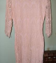 roza haljina od čipke *