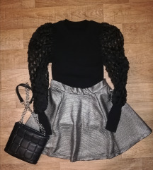 Metalik suknja i torbica