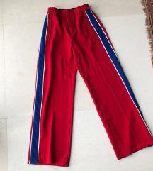 ZARA crvene široke hlače s prugom