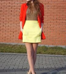ZARA žuta mini suknja s džepovima