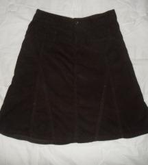 Midi suknja od samta vel. XS (34)