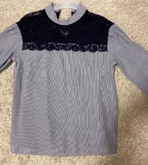 Zara svijetloplava bluza s čipkom