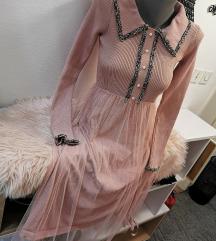 Roza haljina s tilom