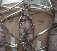 Hm sandale na vezanje, kožne, zlatne, 37