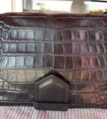 Massimo Dutti crna kožna torba