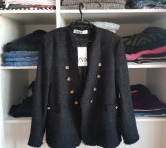 Zara crni sako od tvida s etiketom