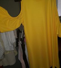ZARA žuta haljina s golim ramenima