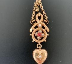 Antikni zlatni privjesak srce