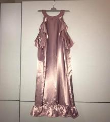 Roza satenska haljina s volanima