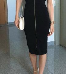 Zara crna midi haljina S VOLANIMA I ZIPOM