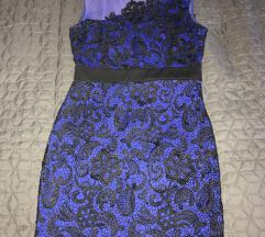 Plava cipkasta haljina