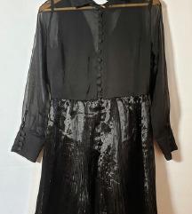 Crna plisirana svecana haljina 🎀