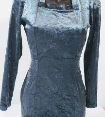WITBOY petrolej plišana haljina