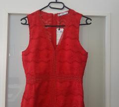 Mango čipkana crvena haljina NOVA
