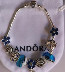 Pandora narukvica, plavi cvijetovi, nova