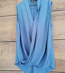 Navy plava wrap bluza