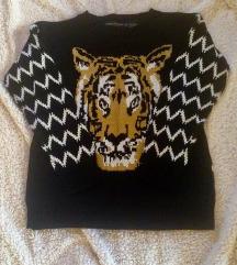 Crni tigar pulover vesta džemper S M