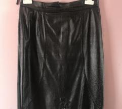 Crna kožna retro suknja