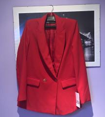 Zara crveni sako blazer blejzer S 36