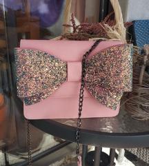 Roza torbica sa šljokicastom🎀mašnom