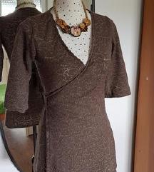 RASPRODAJA - Smeđa rupičasta wrap tunika