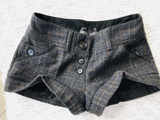 MANGO tartan hlačice od tvida i vune