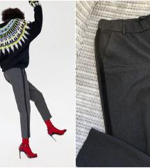 ZARA sive hlače s prugom / poslovne