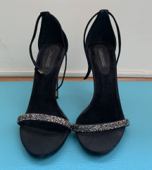 ZARA crne pliš sandale, 10 cm, vel. 39