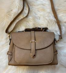 Smeđa / krem kožna torba