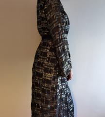 RESERVED Crna midi haljina na preklop