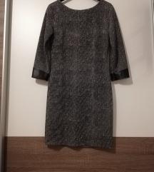 Siva haljina/tunika sa kožnim detaljima
