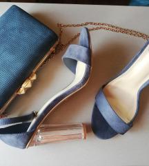 Plave sandale sa staklenom petom