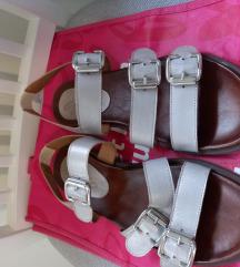 Srebrne sandale prava koža 40