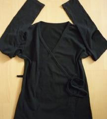 Crna pamučna majica na preklop, M